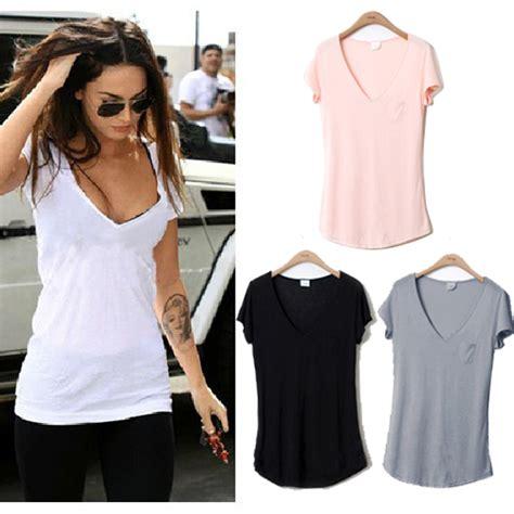 Khimar Basic Neci Size L 2015 new fashion trend basic v neck sleeve cotton plus size t shirt