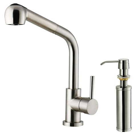 Kitchen Faucet Stainless Steel Vigo Single Handle Pull Out Sprayer Kitchen Faucet With Soap Dispenser In Stainless Steel