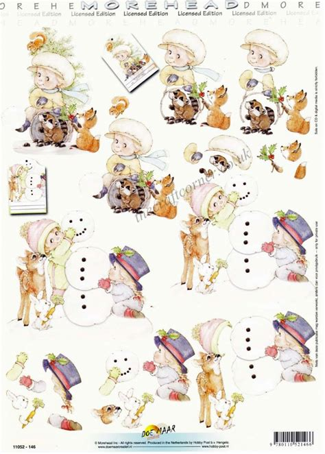 Decoupage Sheet - morehead children forest animals building a