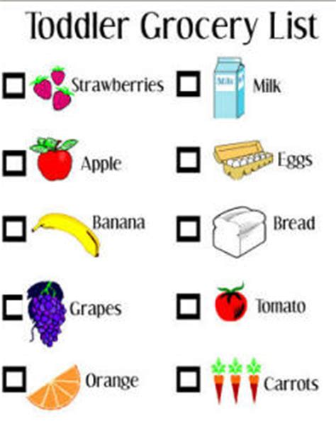 printable toddler grocery list toddler grocery list activity toddler activities games