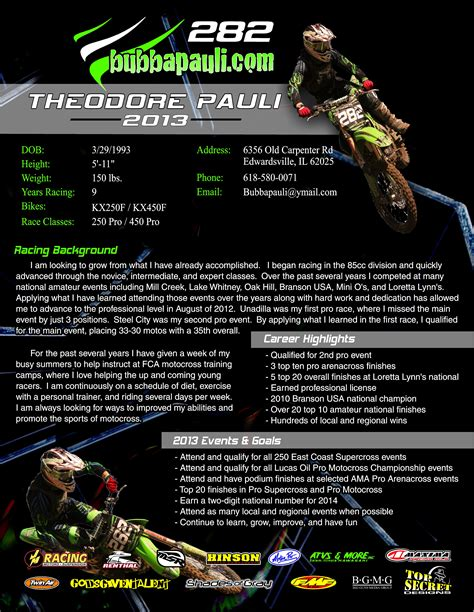 Motocross Sponsor Resume Mx Sponsorship Resume Template