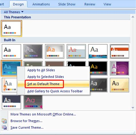 themes powerpoint 2007 microsoft learn powerpoint 2007 for windows change the default