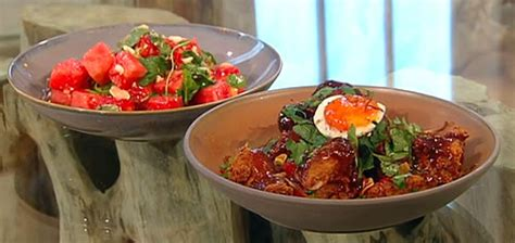 Berry Chicken Recipes Saturday Kitchen by Sticky Chilli Chicken Wings With Thai Pickled Watermelon