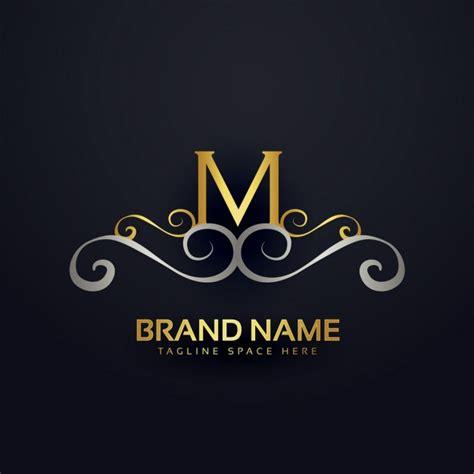 M Vector Logos Brand Logo - m logo with golden ornaments vector free