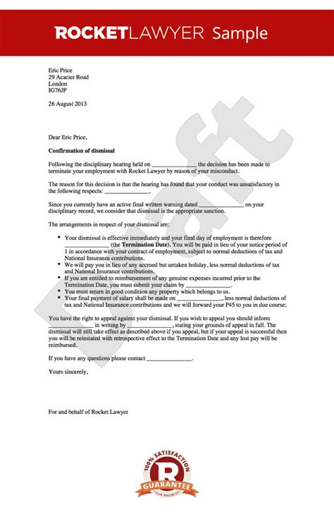 Employment Warning Letter Uk Dismissal Letter For Misconduct Sle Dismissing Employee After Warning