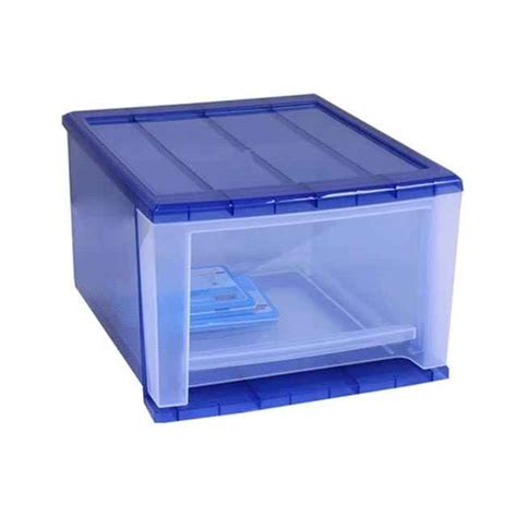 Plastic Stacking Drawers by Medium Navy Stacking Drawer By Iris 4 Pack