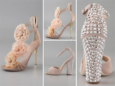 Blush Bridal Heels by Blush Pink Bridal Heels With Flower Embellishments