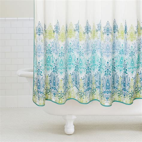 blue green shower curtains blue green print shower curtain contemporary shower