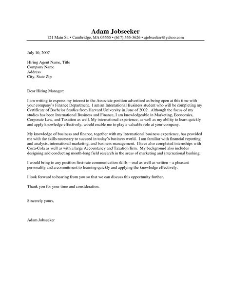 Cover Letter Exles For It by Sle Cover Letter For It Internship Guamreview