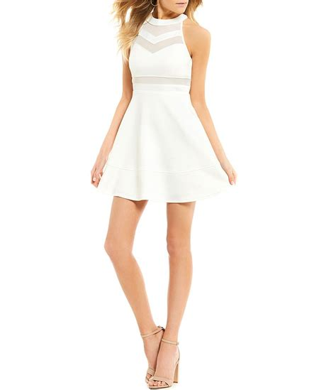 honey  rosie sleeveless high neckline illusion skater