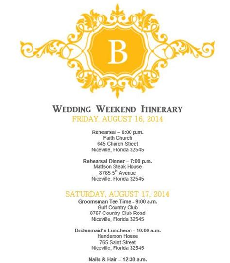 bridal itinerary template mustard yellow wedding itinerary template