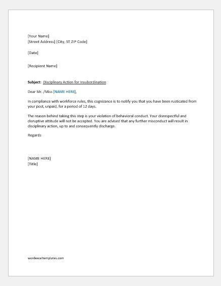 warning letter to employee for insubordination word