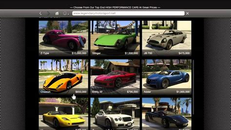 Car Types Gta 5 by Gta 5 How To Buy All Cars Z Type Bugatti Veyron