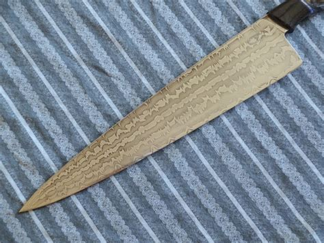 pattern welded kitchen knife a new 10 quot pattern welded chef knife bladeforums com