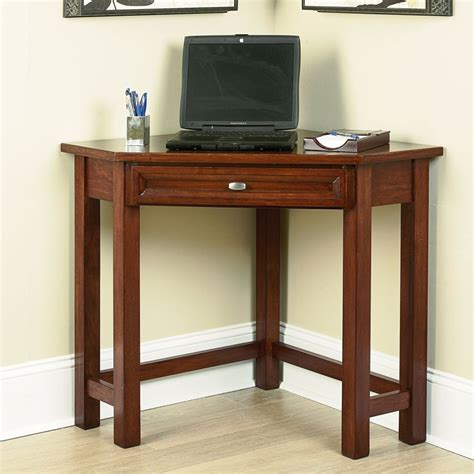 Wooden Corner Desk Home Office Small Brown Wooden Corner Desk For Small Home Office Room Designed With Drawer