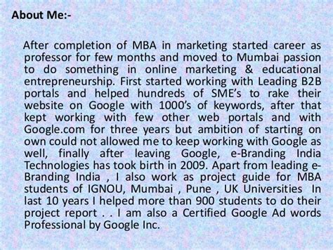 Marketing In Mumbai For Mba Experienced by Mba Project Report Of Indira Gandhi National Open