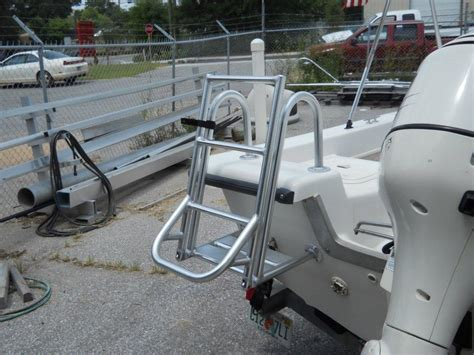 aluminum fishing boat ladder blue coral sport fishing towers ladders and platforms