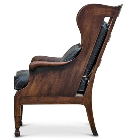 Vclassic Armchair normandy solid carved walnut wood black leather wing chair