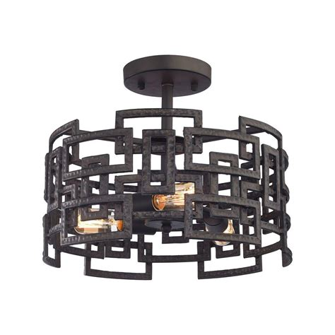 wrought iron flush mount lighting garriston 3 light clay iron semi flush mount tn 75538