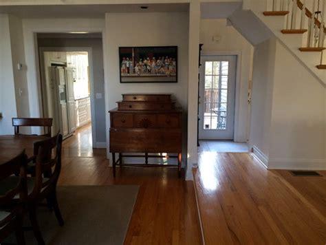 Foyer Flooring Ideas Treacherous Step Down From Living Room Into Dining Room