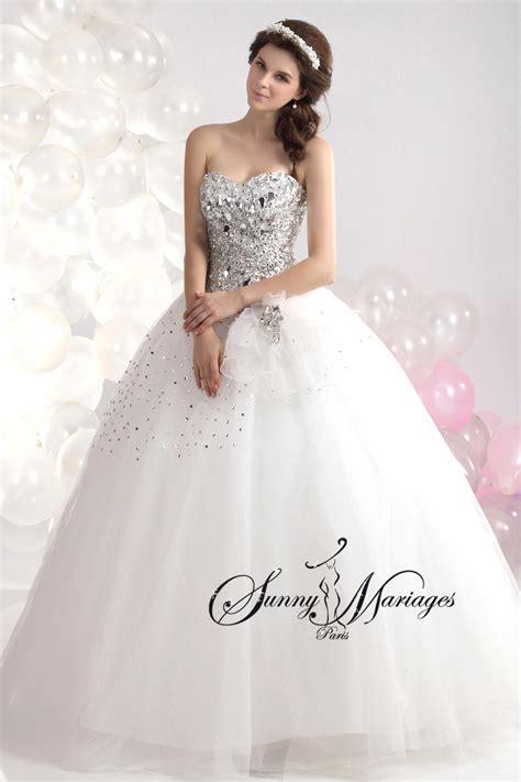 Robe De Mariée Princesse Bustier Paillette - robe de mariage forme princesse blanche avec bustier coeur