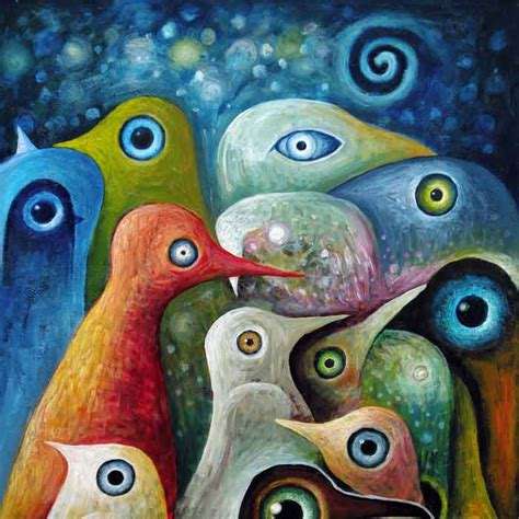 Golf Wall Mural bizhen peinture abstraite oiseaux toile d 233 coration murale