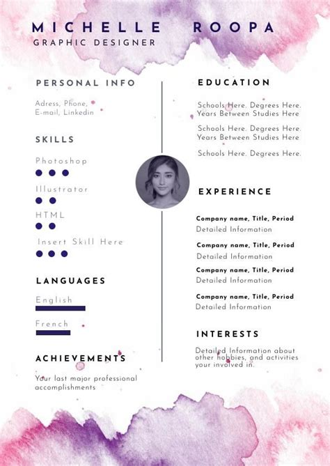 pastel watercolor resume template design flipsnack