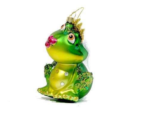 glass christmas tree ornament frog bride with puckered
