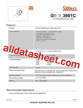 pdt stanley glw3801c datasheet pdf stanley electric co ltd