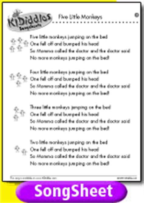 the bed song lyrics five little monkeys song and lyrics from kididdles