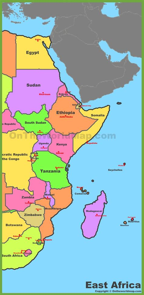east africa map map of east africa