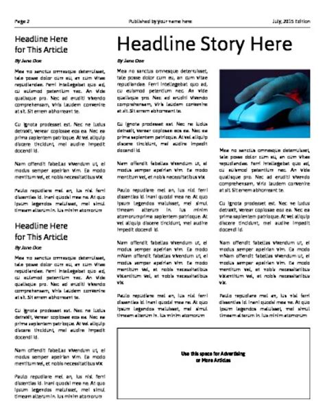 newspaper editorial template free newsletter templates print and digital