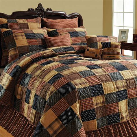 country style bedding american brown twin queen cal king size patchwork quilt
