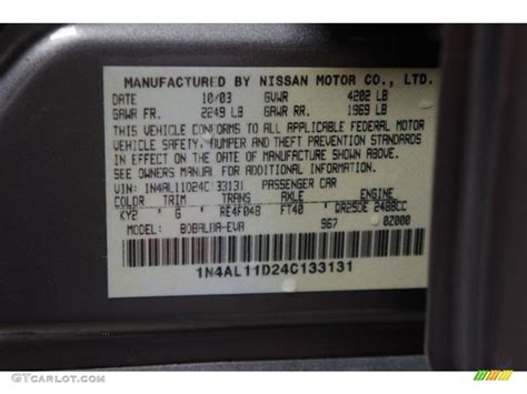 2004 nissan altima 2 5 s color code photos gtcarlot