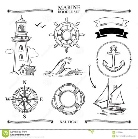 doodle knots rope frames boats marine knots anchors nautical vector