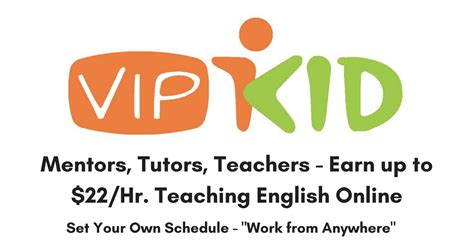 Mentors tutors teachers make up to 22 hr teaching english p t online at vipkid real work