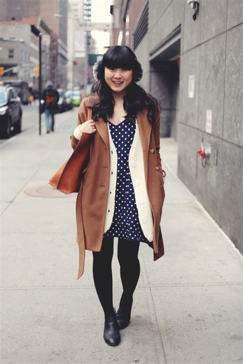 Set Blazer Polkadot Black Dress jennifhsieh navy polka dot dress white cardigan black ankle boots brown jacket