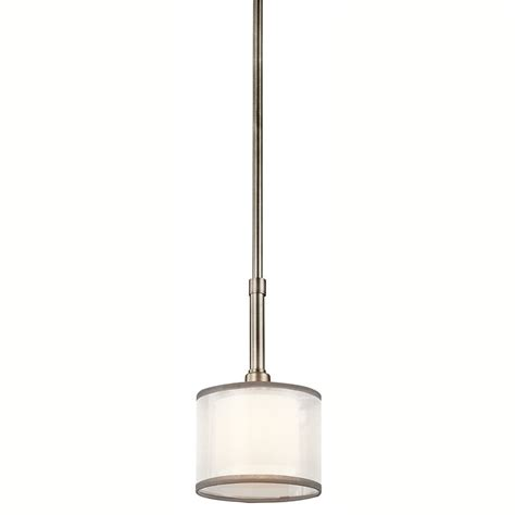 Kichler Lighting Pendants Shop Kichler 6 In Antique Pewter Hardwired Mini Etched Glass Drum Pendant At Lowes