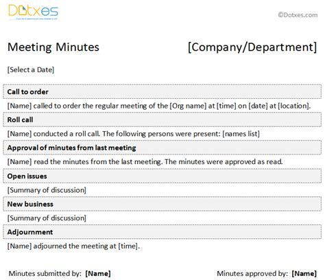 minutes of meeting formal template dotxes