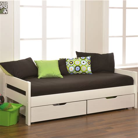 Daybed With Storage White Wooden Daybed With Storage And Black Bed Sheet Completed By Green Cushion On Brown