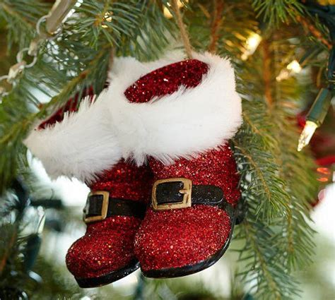 Boot Barn Black Friday Red Glitter Santa Boots Ornament From Pottery Barn