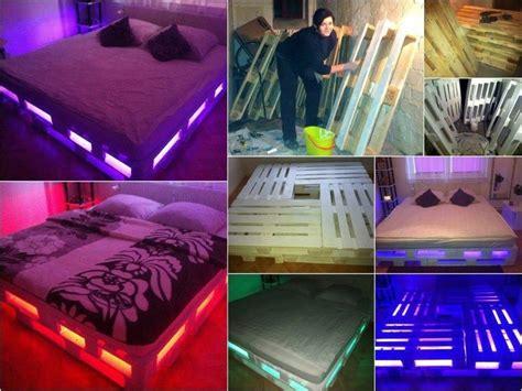 lit en palette de bois avec lumiere diy fabriquer un lit en palette de bois cuboak
