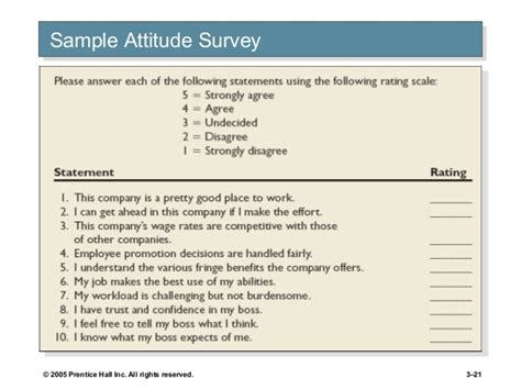 attitude survey template attitude and satisfaction