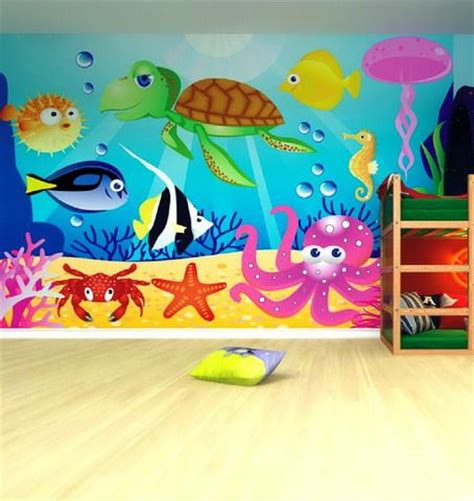 Wall Murals For Kids colorful and beautiful sea animals wall murals in kids