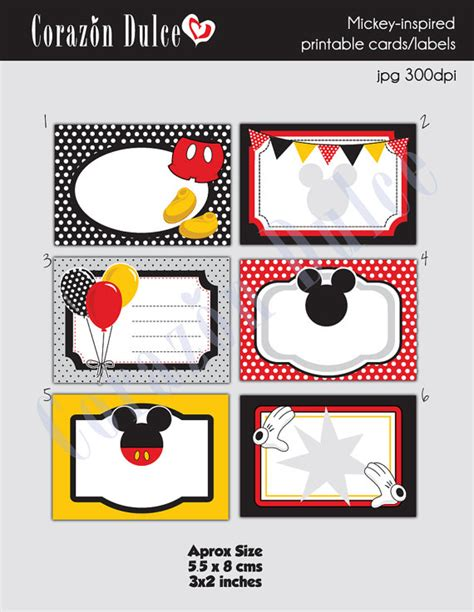 Mickey Mouse Place Card Template by Descarga Autom 193 Tica Tarjetas Imprimibles De Mickey