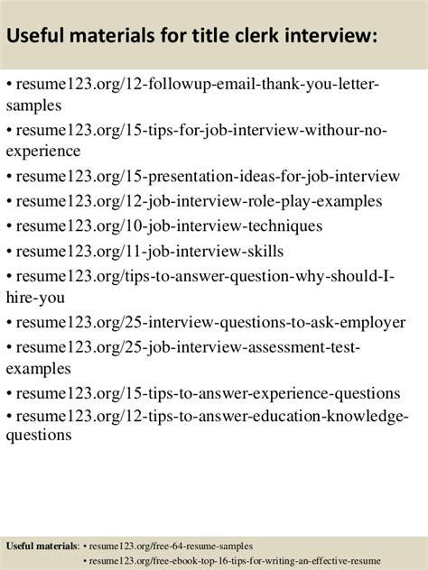 top 8 title clerk resume sles
