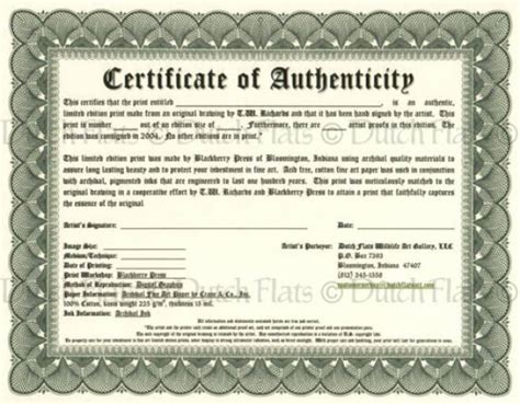 certificate of authenticity template certificate of authenticity templates word excel sles