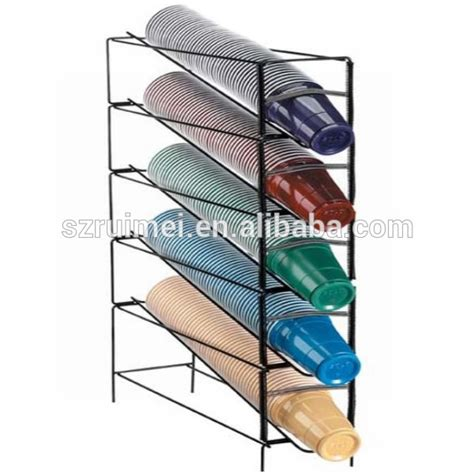Dispenser Qq Quality metal wire 4 tier coffee cup dispenser with lid holder