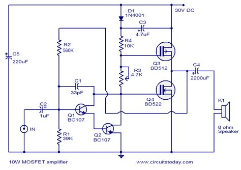 transistor vs mosfet lifier mosfet lifier circuits todays circuits engineering projects