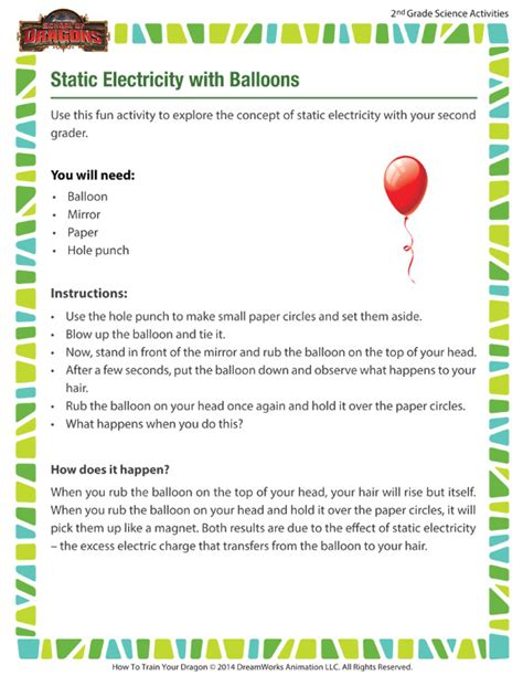 Static Electricity Worksheets For by Static Electricity With Balloons View 7th Grade Science